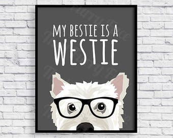 WESTIE PRINTABLE POSTER | Gift | Print it yourself | West Highland Terrier |  Dog Love