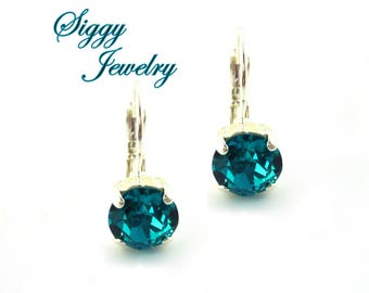 Swarovski® Crystal Earrings, 8mm Blue Zircon, Teal, Robins Egg Blue, Drops Or Studs, Assorted Finishes, Bridesmaids Gifts, Gift Packaged