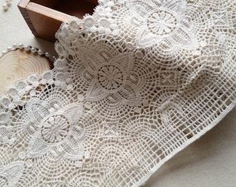 Antique Beige Lace Trim, Vintage Crochet Cotton Lace Trim with Scalloped Edge 6.69 Inches Wide 2 Yards