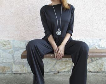 Black Jumpsuit / Loose Jumpsuit / Maxi Black jumpsuit /Plus size black jumpsuit / Jumpsuit Rompers / Drop Crotch Jumpsuit / Women Jumpsuit