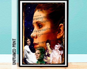 Mothers Day Gift Idea - Princess Leia - Teacher Gift - Carrie Fisher Print - Graduation Gift - Star Wars Sheet Music - Collectable Keepsake