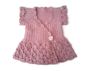 Baby girl wrapover sweater, pink baby dress pinafore, recycled eco cotton baby caridgan, summer baby sweater, baby shower gift. 0-3-6 months