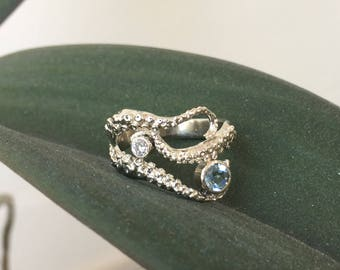 SALE - Seductive Tentacle ring 14k white gold with diamond and Aquamarine, Wedding  band, Engagement ring, tentacle jewelry, Octopus jewelry