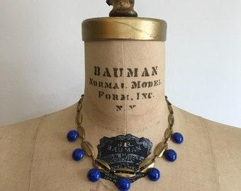 Vintage 1930s Brass Glass Lapiz Chocker Necklace 30s 40s