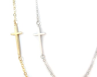 Sideways cross necklace Gold or Silver Dainty cross necklace, communion gift, Thin cross Necklace. Christian cross necklace. Baptism Gift
