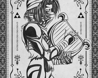 Legend of Zelda - Shiek Princess Zelda Line Art - signed museum quality giclée fine art print