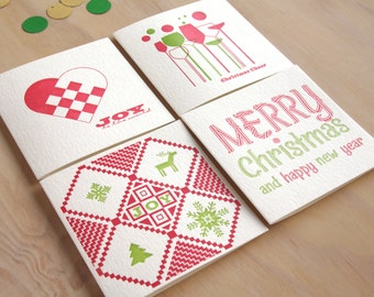 4 Letterpress Christmas cards Jumper for joy, Merry & bright, Tree of life, Christmas Cheers. Swedish Scandinavian In red and green