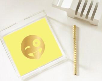 Winky Face - Emoji - Gold Foil Emoji Tray - Trinket Tray - Home Decor - Jewelry Organizer - 3 Sizes