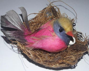miniature handmade bird in nest and eggs ( 1 piece)