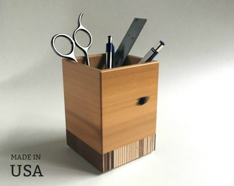 Desktop Pen Caddy Made from Reclaimed Wood, with Striped Wood Base, Eco Friendly Office Decor