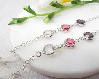 Classic silver eyeglasses chain with bezel set crystals - glasses lanyard - eyeglasses holder - reading glasses chain - glasses cord