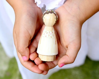 For the Flower Girl // One Custom Child // Goose Grease - Smaller Child-Size Wooden Peg Doll