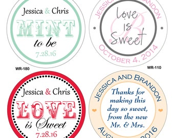 140 - 2 inch Custom Glossy Waterproof Wedding Stickers Labels - hundreds of designs to choose from - change designs to any color or wording