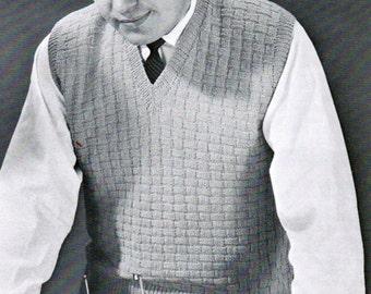 Basketweave Men's Vest Knitting Pattern PDF / Sizes 38, 40, 42, 44 / Men's Sleeveless Pullover Pattern / Mad Men Vest / Basket weave knit