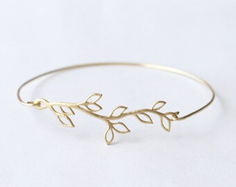 Bridesmaid Bracelet, Olive Branch Bangle bracelet,  flower girl bridesmaid gifts, wedding jewelry, Bridesmaid Gift, Bridesmaid Jewelry