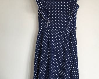 """1960's navy blue & white polka dot vintage fit and flare dress.  """"Carnegie of London size 14"""