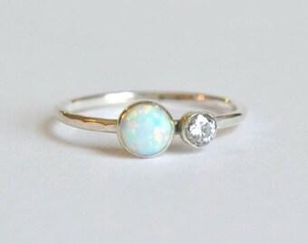 Silver Opal Ring- Opal Ring Silver, Opal Stacking Ring, Stacking Opal Ring, Opal Silver Ring, Dainty Opal Ring, Two Gemstone Ring
