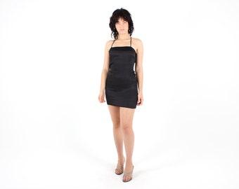PRADA Pure Silk Perfect Minimal Matte Black Square Neckline Cami / Slip / Spaghetti Strap Mini Dress