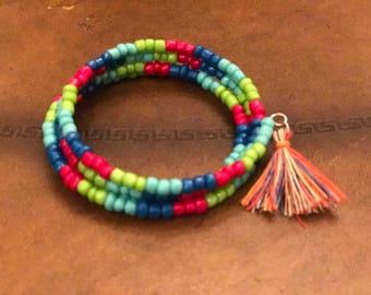 Wrap bracelet, calypso colored beads with tassel