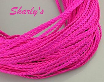 1 m cords of braided suede magenta pink