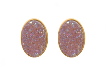 Druzy Stud Earrings - Druzy Studs - Aurora Borealis Druzy - Gold Studs - Large Oval Studs - Gold Stud Earrings