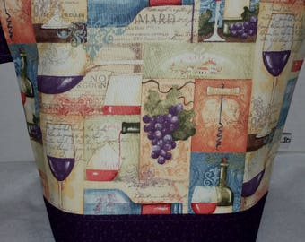 Large Zipper Project Bag, Wine Theme, Grapes,   Large Size, Shawl to Sweater Wedge, Tote Bag