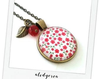 Bronze rouges• • glass cabochon necklace spring flowers