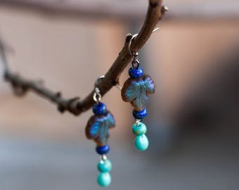 Dark cobalt blue earring, dangle earrings, Czech beads earrings, blue earrings, glass beads earrings, bridesmaid jewelry, romantic earrings