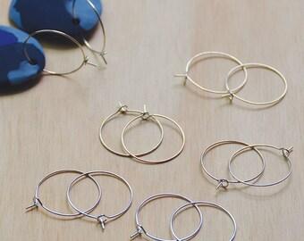 Earring hoops//Silver plated earring hoops//25mm hoops- 10 pieces- 5 pairs of earring hoops