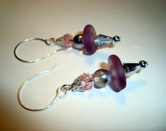 Purple Lampwork Glass Beads, Czech Picasso Beads and Crystals Hang on Sterling Silver Earrings - Handmade Design - Silver n Burgundy - SRAJD