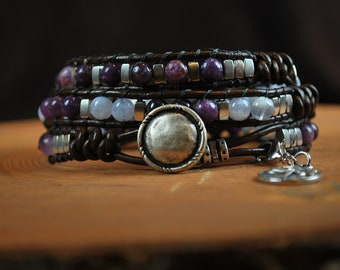 Lepidolite and Blue Lace Agate 3-Wrap Bracelet