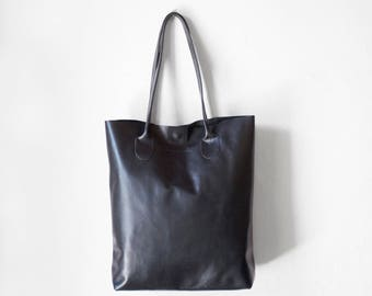 Black Essential Tote / Nappa Leather Tote Bag / Black Bag / Black Tote Bag / Raw Edge Leather Tote / Black Tote / Black Leather Shopper