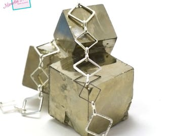 "50 cm chain ""big-small square"", silver light 01"