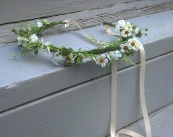 Flower Girl Halo FairyTale Hair Wreath Bridal Flower Crown Woodland Wedding accessories Cottage Chic Aussie garland International ship
