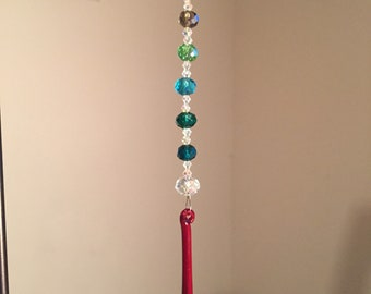 Red and rainbow crystal suncatcher