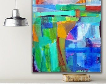 Modern Painting, Contemporary Art, Abstract Painting, Abstract Wall Art, Large Wall Art, 24x36, Green Painting, Blue Painting, Amanda Flores