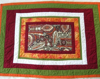 SALE Tribal Toddler Baby Boy Quilt Patchwork Quilt in Orange Red and Olive Green Playmat