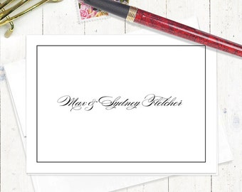 personalized stationery set - PERFECTLY BEAUTIFUL - set of 8 folded note cards - couples stationery - pretty stationary - feminine cards