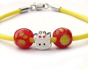 Cat Charm Yellow Rubber Bracelet for Girls