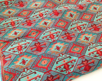 Meter / Yard,Traditional, Ethnic Tribal Style Upholstery Fabric,Cotton Woven Fabric,Tapestry Fabric,Aztec Navajo Geometric Kilim Fabric