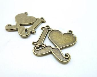 15pcs Moustache Charms--Antique Bronze I Love Moustache Charm Pendant,Heart Moustache Charm ,Beard Jewelry Findings 25x25mm C7230