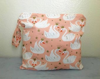 Swan wet bag, baby bag, beach bag, diaper bag, small baby bag, large wet bag, swan bag