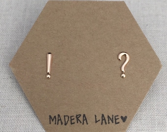 Tiny Punctuation Stud Earrings in Gold. Sterling Silver Posts. Grammar Studs.  Exclamation and Question Mark Stud Earrings. Grammar Jewelry.