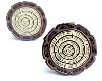 Wood Slice Cufflinks - Cream and Brown WoodGrain Faux Bois Cufflinks - Woodland Wedding - Wood Anniversary Gift for Men