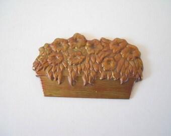 Vintage Brass Flower Basket Stamping