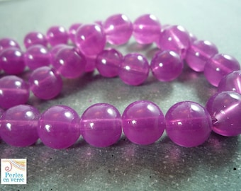 20 round, glass beads plum color, 10mm (pv132)
