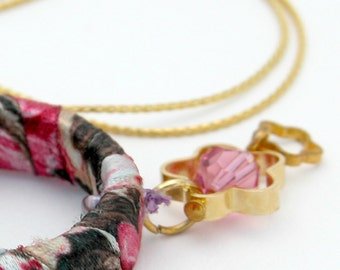 Mother Gift For Women, Colorful Satin Hoop Fabric Gold Necklace, Hoop Fabric Necklace, Fabric Jewelry Necklace