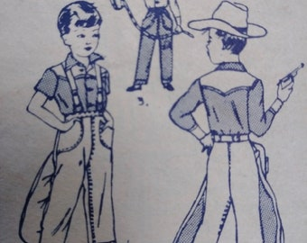 Vintage 1940s Pattern Cowboy Western Outfit Costume Simplicity 3025 Childs Sz 8