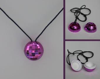 Necklace Disco ball with secret compartment-purple shiny-disco ball necklace-necklace-festival Glitterbox-secret hideout-reflecting