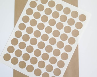 Kraft Labels | 1 inch Round Labels Brown Kraft Stickers - Ink Jet or Laser Printable for Wedding Invitations, Scrapbooking, Packaging
